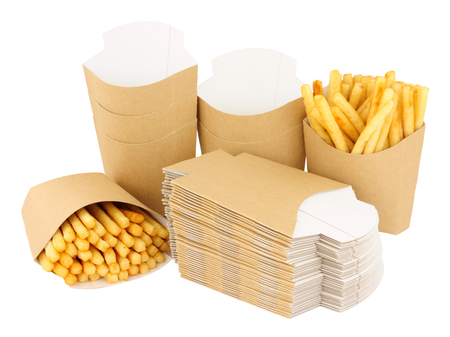 Consumables: Cardboard French fry take away scoops isolated on a white background
