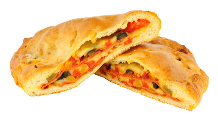 Pepperoni and cheese filled calzone pizza isolated on a white background Stock Photo
