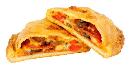 Pepperoni and cheese filled calzone pizza isolated on a white background Archivio Fotografico