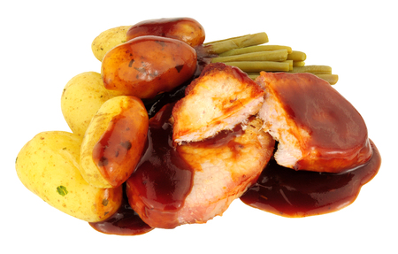 runner bean: Bacon medallion and boiled potato meal with bourbon sauce isolated on a white background