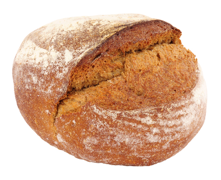 crusty: Crusty rye bread cob loaf isolated on a white background Stock Photo