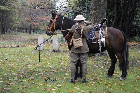 regiment: British world war one cavalry soldier preparing horse