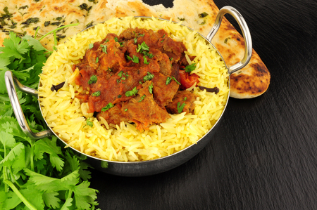 naan: Lamb rogan josh curry meal with pilau rice and naan bread