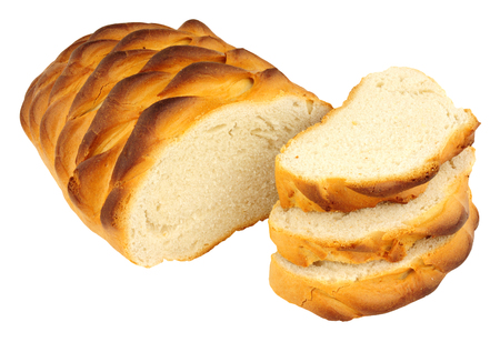 Crusty hedgehog bread loaf isolated on a white background