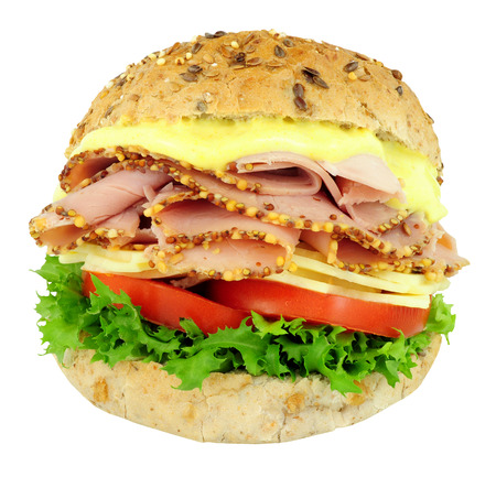 Peppered ham and cheese salad sandwich roll isolated on a white background Stock Photo