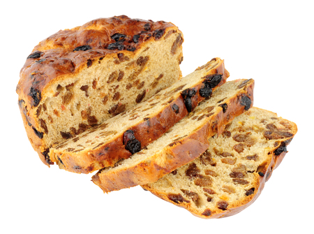 sultanas: Traditional Irish Barmbrack sweet fruit bread loaf isolated on a white background