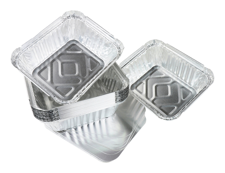 Aluminium foil take away trays isolated on a white background