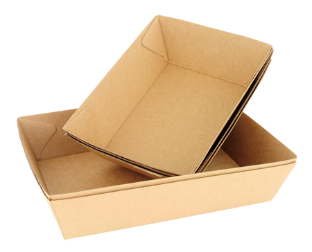 Group of recyclable cardboard food trays isolated on a white background Reklamní fotografie