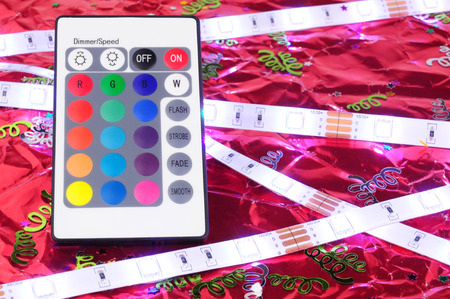 White LED flexible strip lights with remote control Stock Photo