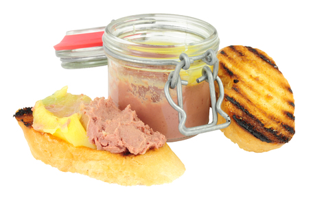 higado de pollo: Chicken liver parfait and toast isolated on a white background Foto de archivo