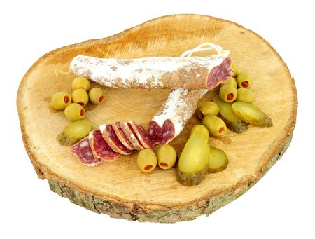 peppery: Traditional Spanish Fuet Catalan dry cured salami sausage