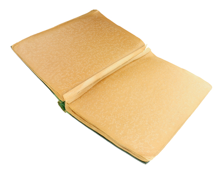 Old large hardback Braille book isolated on a white background Stok Fotoğraf