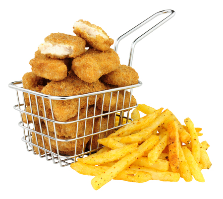 Breadcrumb covered chicken nuggets and French fries in a small wire frying basket isolated on a white background Stock Photo