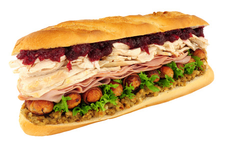 Massive Christmas dinner sandwich isolated on a white background Stock Photo