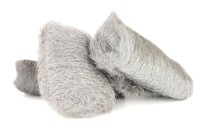 Group of steel wire wool on a white background