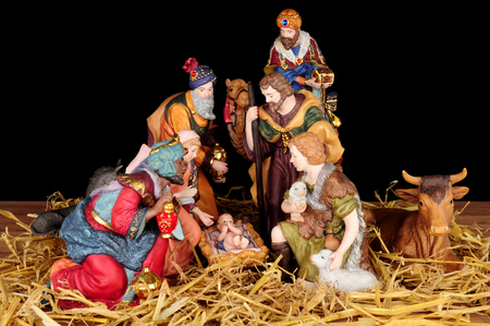 animal figurines: Traditional Christmas nativity scene with Mary and Joseph and baby Jesus Stock Photo