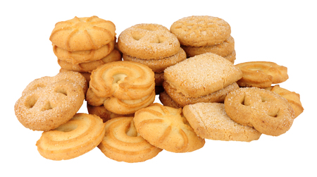 Assortment of Danish butter biscuits isolated on a white background