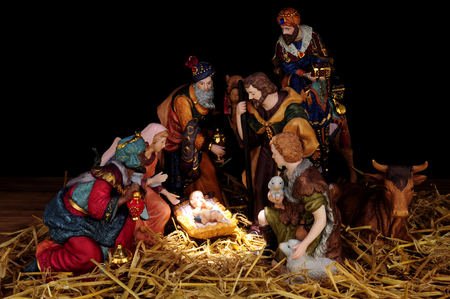 Traditional Christmas nativity scene with Mary and Joseph and baby Jesus Stock Photo