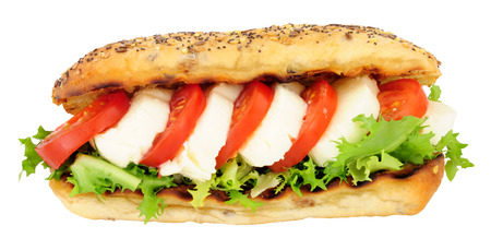 Fresh mozzarella cheese and tomato sandwich with lettuce in a seed covered bread roll isolated on a white background