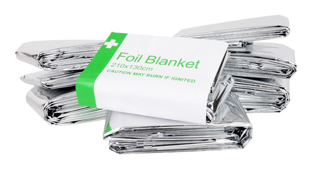Emergency foil space blankets isolated on a white background