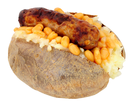 Sausage and baked bean filled baked jacket potato isolated on a white background Reklamní fotografie
