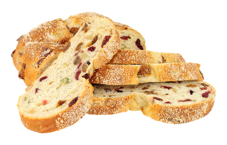Cranberry, raisin and cashew nut bloomer bread loaf isolated on a white background Stock Photo