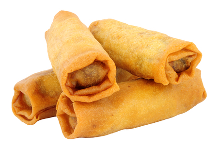 Crispy Chinese spring rolls isolated on a white background