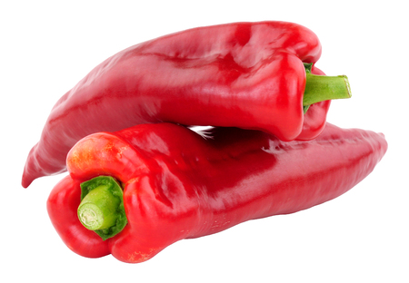 Sweet ramiro red pointed peppers isolated on a white background