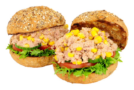 Two tuna fish and sweetcorn sandwich rolls with fresh salad isolated on a white background 版權商用圖片 - 99351640