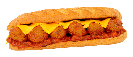 Meatball and cheese sub roll sandwich with tomato sauce isolated on a white background