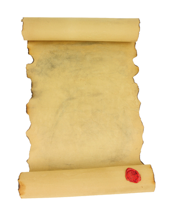 Old vintage paper scroll with red wax seal isolated on a white background Stok Fotoğraf