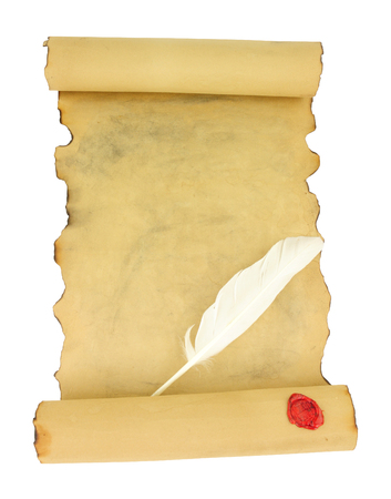 Old vintage paper scroll with red wax seal and feather quill pen isolated on a white background