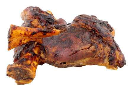 Two Slow cooked lamb shanks isolated on a white background Stock Photo