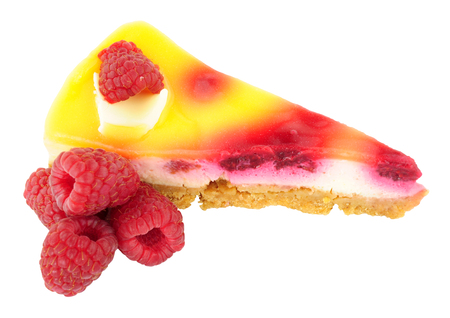 Raspberry cheesecake slice isolated on a white background