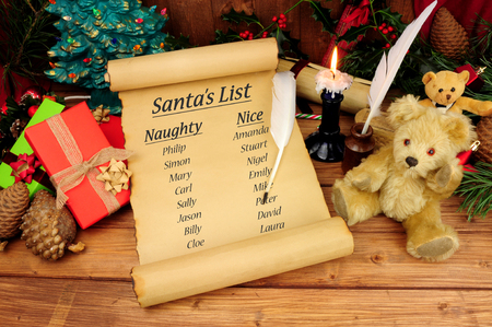 Santa's naughty and nice list on an old paper scroll with a festive background