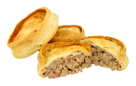 Traditional Scotch meat pies isolated on a white background Stock Photo