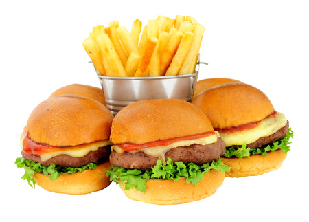 Group of cheeseburger sliders in brioche bread buns and French fries isolated on a white background
