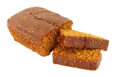Parkin cake a North of England gingerbread cake traditional eaten on bonfire night or Guy Fawkes night on November 5th,  isolated on a white background