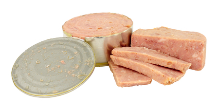 Cheap low quality processed canned ham meat isolated on a white background Stock Photo