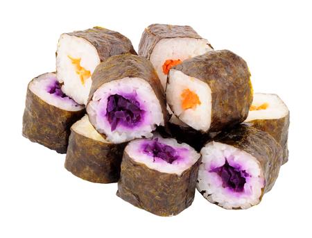Vegan hosomaki sushi rolls isolated on a white background