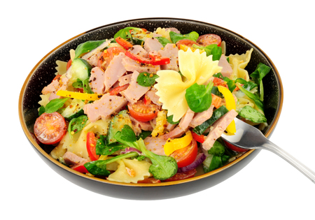 Ham and pasta salad meal isolated on a white background