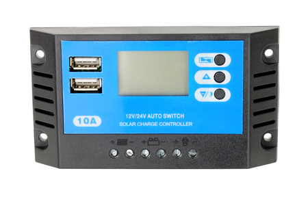Solar electricity charger control unit isolated on a white background