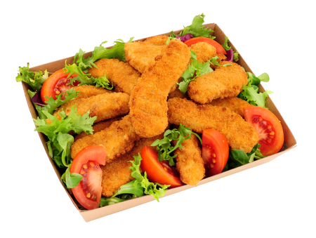 Breadcrumb covered chicken and salad in a cardboard takeaway tray isolated on a white background