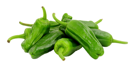 Group of fresh raw green Mediterranean padron peppers isolated on a white background