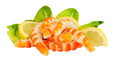 Fish protein surimi formed into prawn shapes isolated on a white background Reklamní fotografie