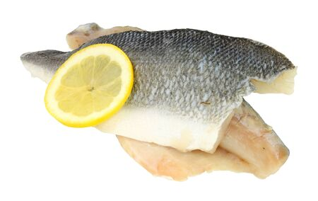Raw basa fish fillets also known as river cobbler isolated on a white background