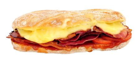 Ciabatta sandwich filled with bacon and melting cheese isolated on a white background Foto de archivo - 138094496