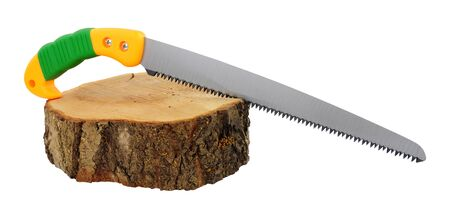Pruning handsaw with a section of tree trunk isolated on a white background