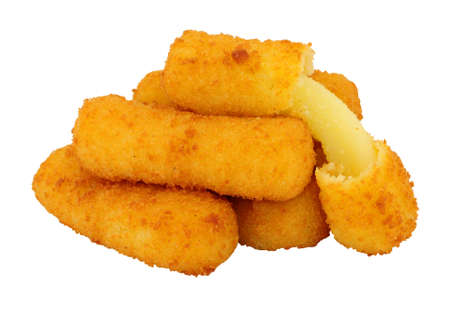 Group of breadcrumb covered mozzarella cheese sticks isolated on a white background Stock Photo