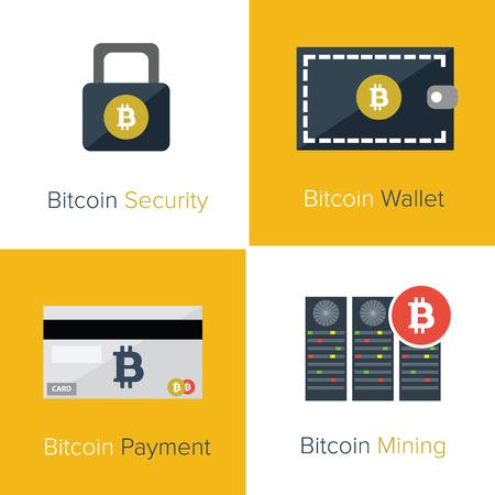 Bitcoin set icons Vector